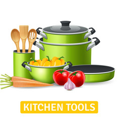 Kitchen tools with vegetables vector