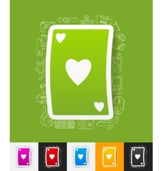 Playing card paper sticker with hand drawn vector