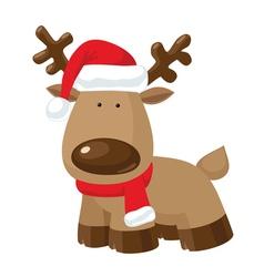 Christmas reindeer standing in santas red hat vector