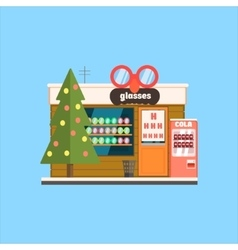 Glasses shop front in christmas vector