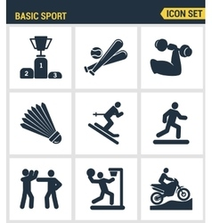 Icons set premium quality of basic sport and vector