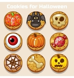 Cartoon cute funny halloween cookies vector