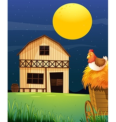 A wooden farm barn vector