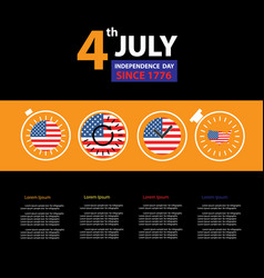 american flag in clock for independence day time vector image