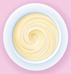 background of mixed cream in a bowl vector image
