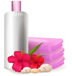 Bottle of shampoo with hibiscus vector image