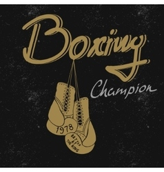 boxing vintage label for t-shirts vector image