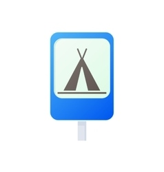 Camping traffic sign icon cartoon style vector image