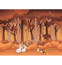 Cartoon autumn forest with animals2 vector