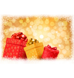 Christmas gold background with gift boxes vector image vector image