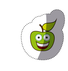colorful green kawaii fruit apple happy icon vector image vector image