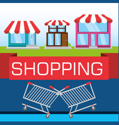 Colorful stores with elements shopping concept vector