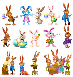 different characters of bunnies vector image
