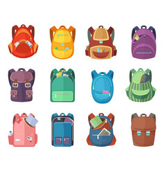 different schoolbags in cartoon style isolate on vector image
