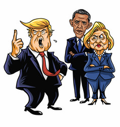 Donald trump hillary clinton and barack obama vector