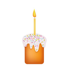 Easter cake with icing and candle vector