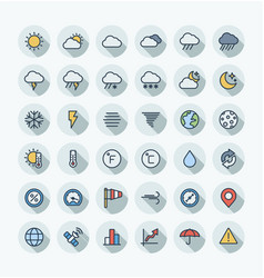 flat color thin line icons set with weather vector image