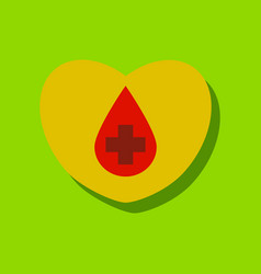 Flat icon design collection heart with a cross in vector