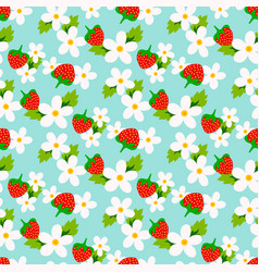 Floral seamless pattern with strawberry vector