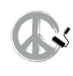 Hand-drawn peace sign antiwar symbol from 60s vector
