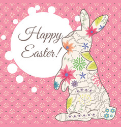 Happy easter card with vintage rabbit and bubble vector