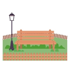 Isolated bench and lamp of park design vector