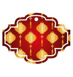 label lantern decoration pattern vector image