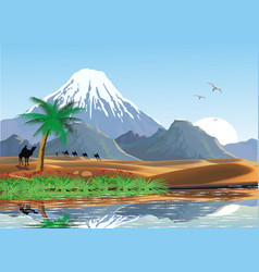 Landscape - mountains and oasis in the desert vector