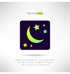 Moon crescent and stars icon Night sky sign vector image