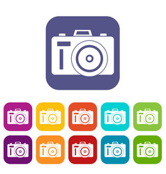 Photocamera icons set vector