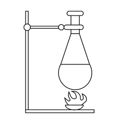 Retort stand bunsen burner and test flask icon vector