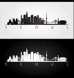 Seoul skyline and landmarks silhouette vector