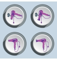 Set of professional blow hairdryer icons vector