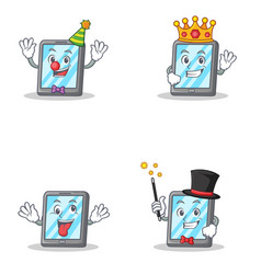 Set of tablet character with clown king crazy vector