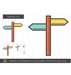 Signpost line icon vector
