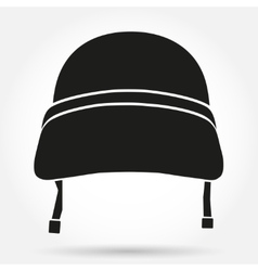 Silhouette symbol of military helmet vector