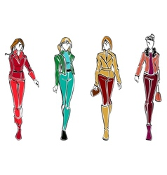 Sketches of fashion models vector image vector image