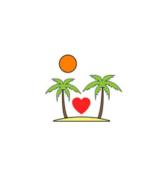 Tour in valentines day solid icon travel island vector