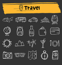 Travel doodle sketch icon set vector