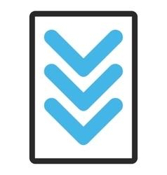 Triple arrowhead down framed icon vector