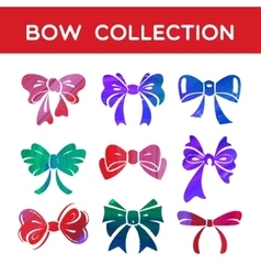 Watercolor and acrylic set of silhouettes bow vector