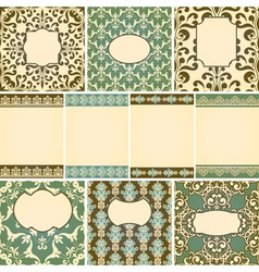 10 cards in retro style with floral seamless flora vector image vector image