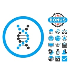 DNA Flat Icon with Bonus vector image
