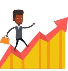 Happy businessman running on profit chart vector
