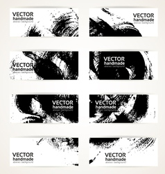 Set of abstract black drawn by brush banner vector image
