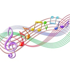 Colorful musical notes staff background on white vector