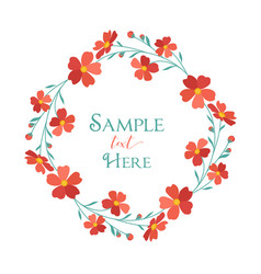 Wreath red flowers vector