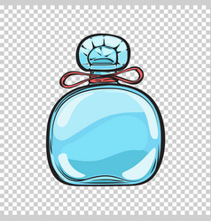 Blue glass bottle of perfume isolated vector