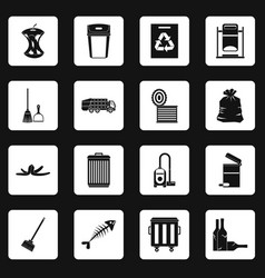 Garbage thing icons set squares vector