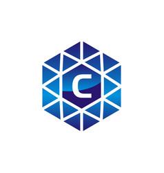 diamond initial c vector image